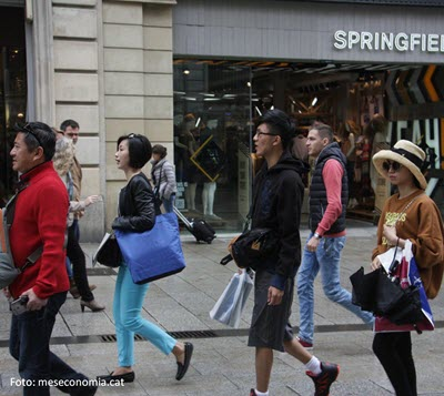Foreign tourist spending in Catalonia has grown by 14% and accounts for 22.4% of the total for Spain