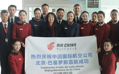 Air China's first flight without stopover between Barcelona and Peking takes off